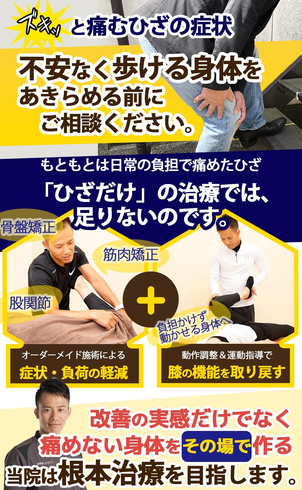 ズキッと痛むひざの症状不安なく歩ける身体をあきらめる前にご相談ください。